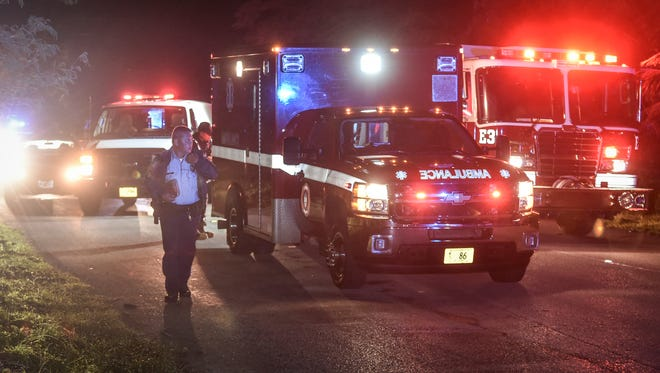 Emergency responders process the scene of an auto-pedestrian accident on Washington Drive in Mangilao on Nov. 28.