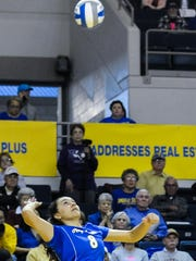 Angelo State's Brianna Sotello goes up for an attack earlier this year at the Junell Center. The Rambelles, who are undefeated on their home court this year, host the NCAA Division II South Central Regional Tournament this weekend.