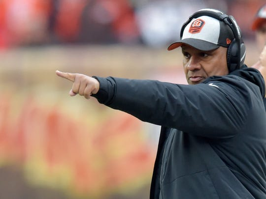 Cincinnati Bengals special assistant to the head coach Hue Jackson points during the first half of an NFL football game against the Cleveland Browns, Sunday, Dec. 23, 2018, in Cleveland. (AP Photo/David Richard)