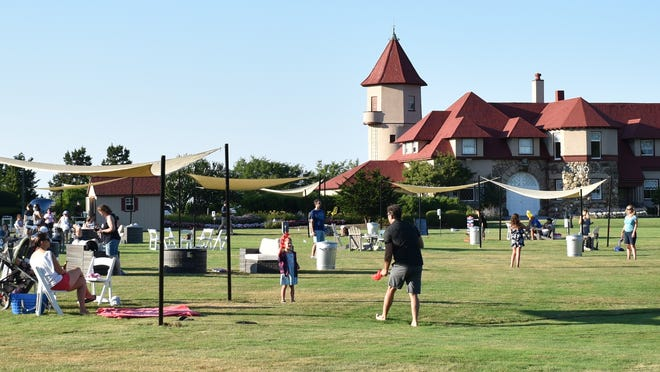 The Ocean Edge Resort in Brewster has created The Front Lawn experience in front of its mansion, offering outdoor games, food, drinks and seating areas.