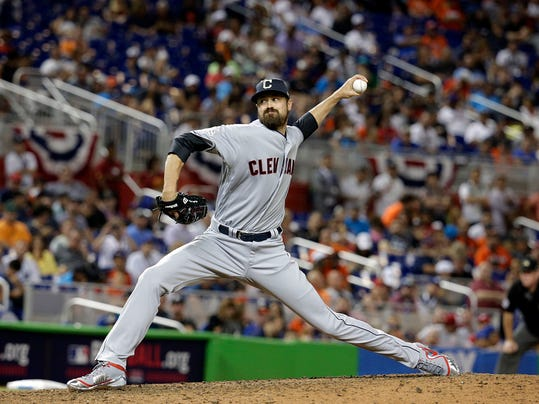 American League's Cleveland Indians pitcher Andrew Miller throws a pitch, during the tenth inning at the MLB baseball All-Star Game, Tuesday, July 11, 2017, in Miami. The American League defeated the National League 2-1. (AP Photo/Lynne Sladky)
