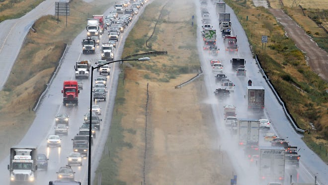Traffic flows on Interstate 25 near the Berthoud exit in this file photo. CDOT has been encouraging drivers to use the left lane for passing only.
