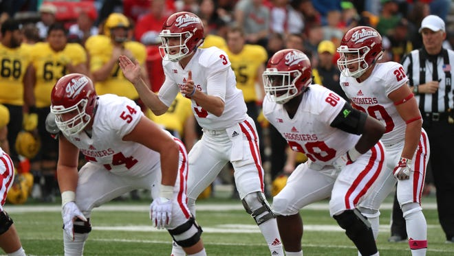 Oct 28, 2017; College Park, MD, USA; Indiana Hoosiers quarterback Peyton Ramsey (3) leads the offense against the Maryland Terrapins at Maryland Stadium. Mandatory Credit: Mitch Stringer-USA TODAY Sports