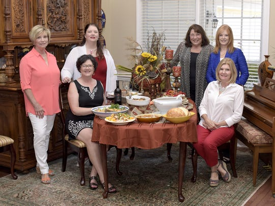 From left: Brenda Whalley, Elaine Christian, Susan Francisco, Joan Graves, Lynda Climer Vince and Wanda Scanlon gather for the Tuscan tasting luncheon.