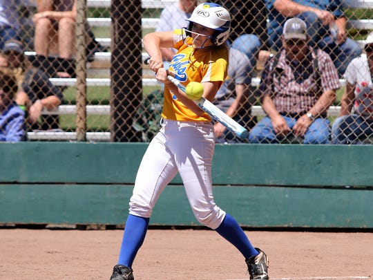 The North's Chelsea Reeder of Anderson gets a hit Saturday in the third inning of the Lions All-Star game in Chico.