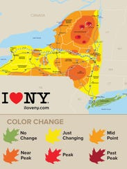 The fall foliage map for Oct. 5, 2017.