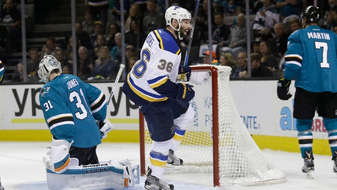 St. Louis Blues' Troy Brouwer (36) celebrates after scoring past San Jose Sharks goalie Martin Jones (31) during the first period in Game 4. The Blues won 6-3 Saturday to tie the best-of-seven series at 2-2.