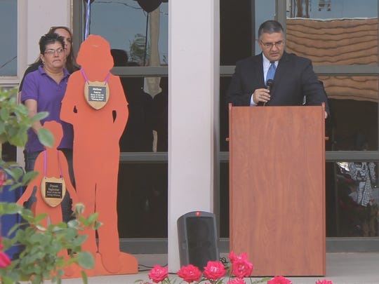 Twelfth Judicial District Attorney David Ceballes spoke during the Crime Victims Awareness event Friday morning.
