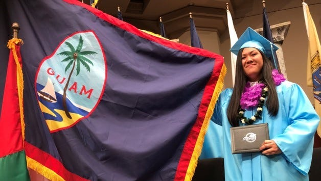 Darlene Rose Mendiola graduated May 19, 2018 from Abeka Christian Academy in Pensacola Florida. Mendiola is the only Guam resident among 510 graduates. In her honor, the Guam flag was displayed on stage along with many other international flags.