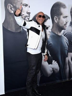 "Vin Diesel arrives at the ""Furious 7"" premiere."