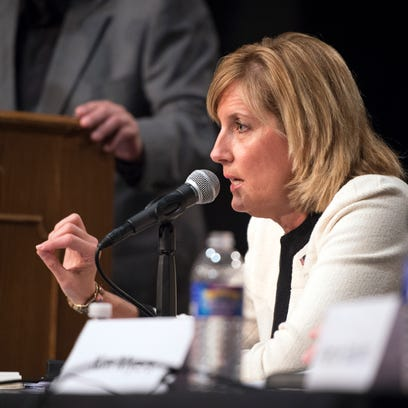 Then-Assemblywoman Claudia Tenney speaks during a debate