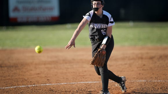 North Buncombe's Caitlin Griffin pitches in the game against Erwin March 28, 2017.
