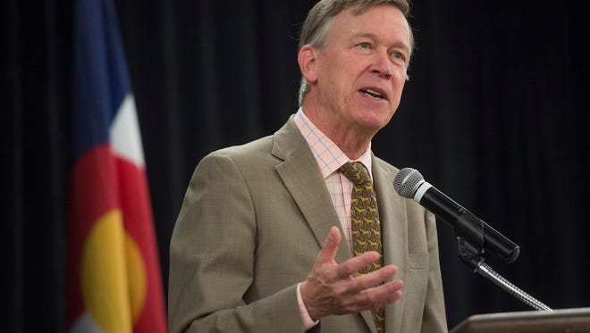 In this file photo, Governor John Hickenlooper speaks on small businesses in Colorado during the Business Appreciation Breakfast hosted by the City of Fort Collins at the Fort Collins Marriott on Wednesday, September 13, 2017.