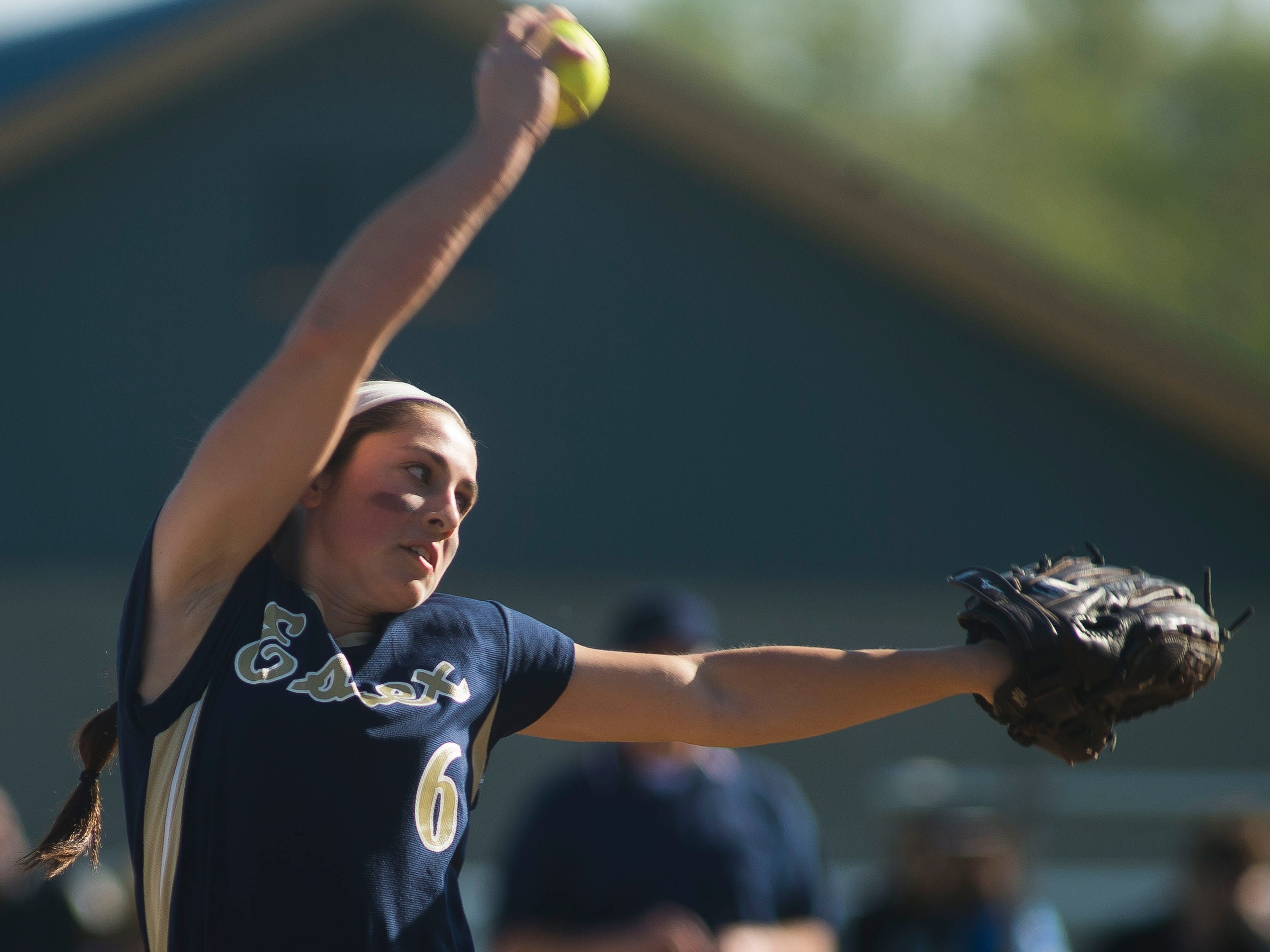 Essex pitcher #6 Allison Rutz winds up, delivering a strike to Missisquoi Valley. Inning after inning went scoreless between the two, until Missisquoi Valley found an opening late in the game, pulling off a 4-0 win at Essex Tuesday.