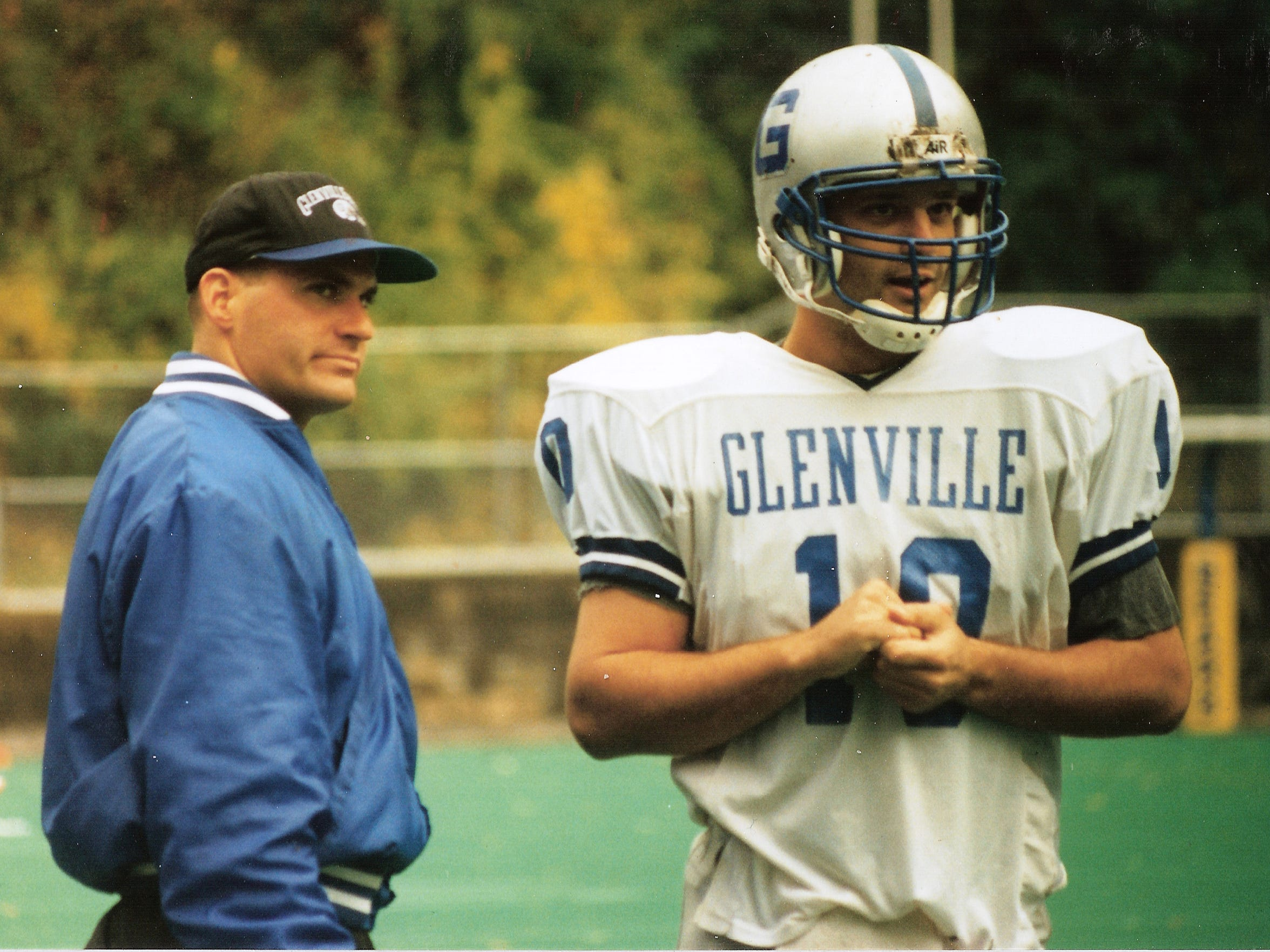 Rich Rodriguez with Glenville State player Scott Otis in the early 1990s.
