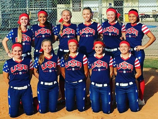 The TCAA 16U Wildcat team,representing Team USA, before
