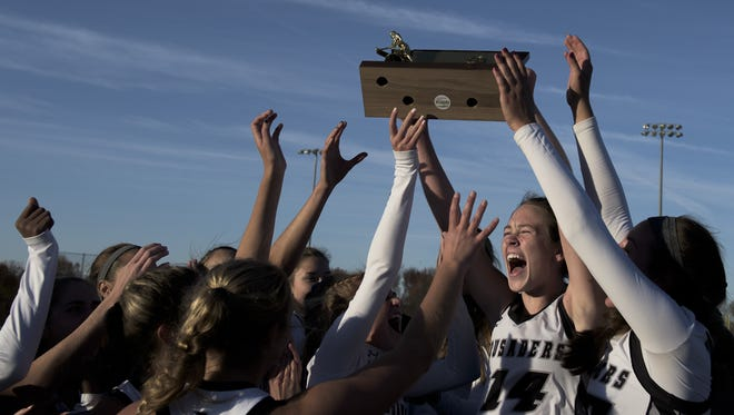 Bishop Eustace reacts after capturing the Non-Public championship on Saturday at Bordentown. Eustace won 1-0 in overtime.