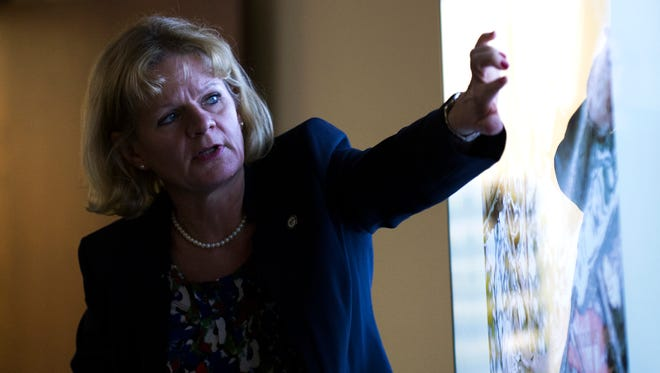 Assistant Camden County Prosecutor Christine Shah points to a crime scene image displaying the body of 3-year-old Brendan Creato during testimony Thursday in Camden.