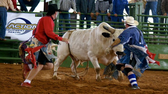 Bullfighters Luke Kraut (right) and Clifford Maxwell distract an agitated animal during a rodeo in Santa Fe.