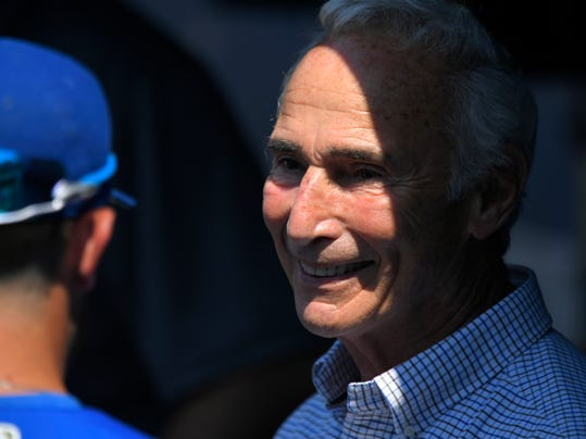 Former Los Angeles Dodgers pitcher Sandy Koufax, right, talks with Kansas City Royals' Drew Butera prior to a baseball game against the Los Angeles Dodgers, Saturday, July 8, 2017, in Los Angeles. (AP Photo/Mark J. Terrill)