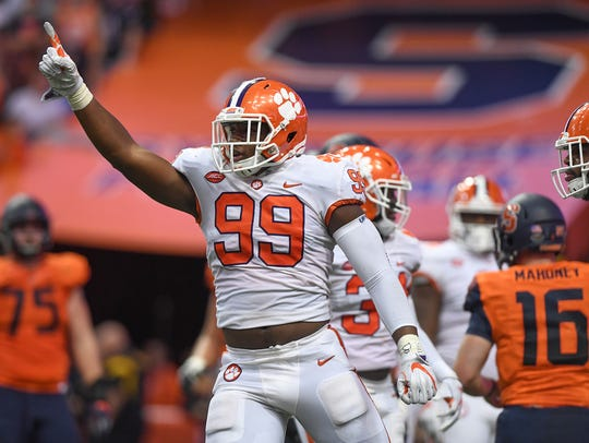 Clemson defensive lineman Clelin Ferrell (99) reacts