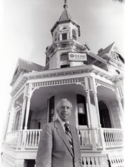 Former Mayor John Driggs in front of the Rosson House.
