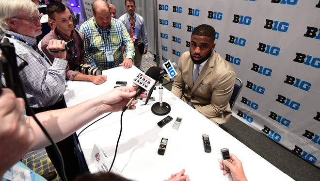 Ohio State linebacker Chris Worley answers questions from reporters during Big Ten Media Days in Chicago on Monday.