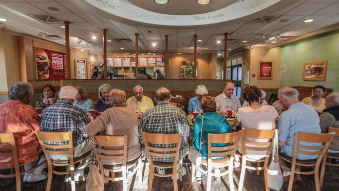 Sun City residents have their Shabbat gathering at the Wendy's in Palm Desert on Friday, June 1, 2018. A short documentary has been made about the group that'll be shown at the Palm Springs ShortFest.
