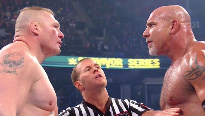 Brock Lesnar, left, and Goldberg are set to meet again in WretleMania 33 on Sunday in Orlando.
