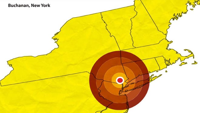 A 50-mile radius around the Indian Point nuclear plant.