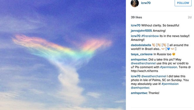 Picture of a fire rainbow in the sky over South Carolina.