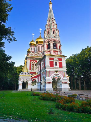 Another red-colored church, this one in Shipka,                                                          Bulgaria, the                                                          M