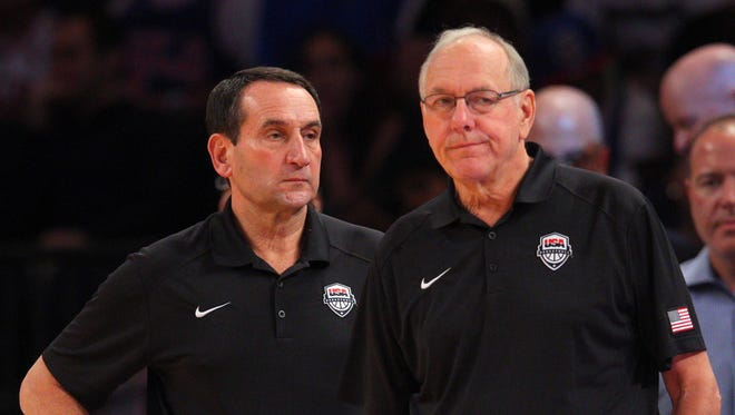USA head coach Mike Krzyzewski and assistant coach Jim Boeheim.