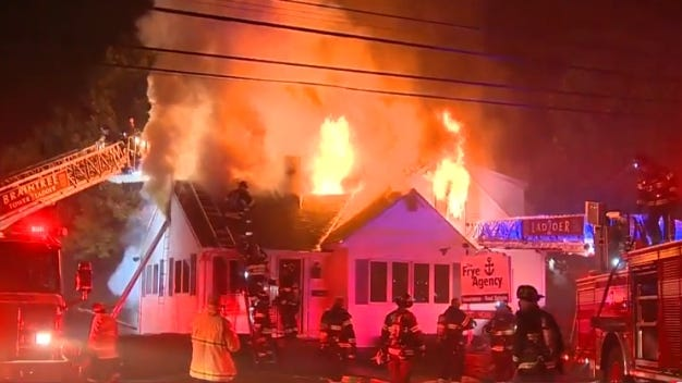 Fire at 1579 Washington St. in Braintree. Courtesy of WCVB.
