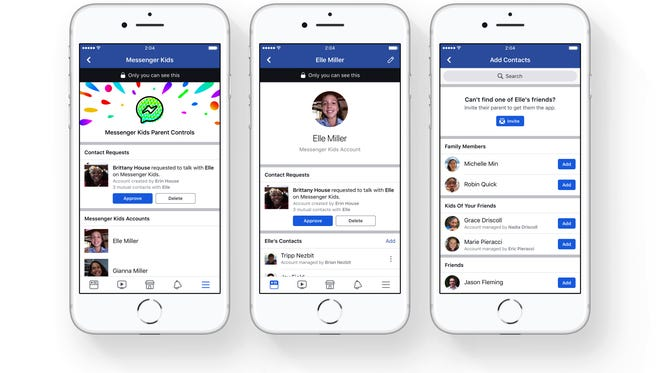 FILE - This file photo provided by Facebook demonstrates parental controls on Facebook's new Messenger app for kids. Child development experts and advocates are urging Facebook to pull the plug on its new messaging app aimed at kids under 13. A group letter being sent Tuesday, Jan. 30, 2018, to CEO Mark Zuckerberg argues that younger children aren't ready to have social media accounts, understand privacy concerns and navigate the complexities of online relationships. (Courtesy of Facebook via AP, File)