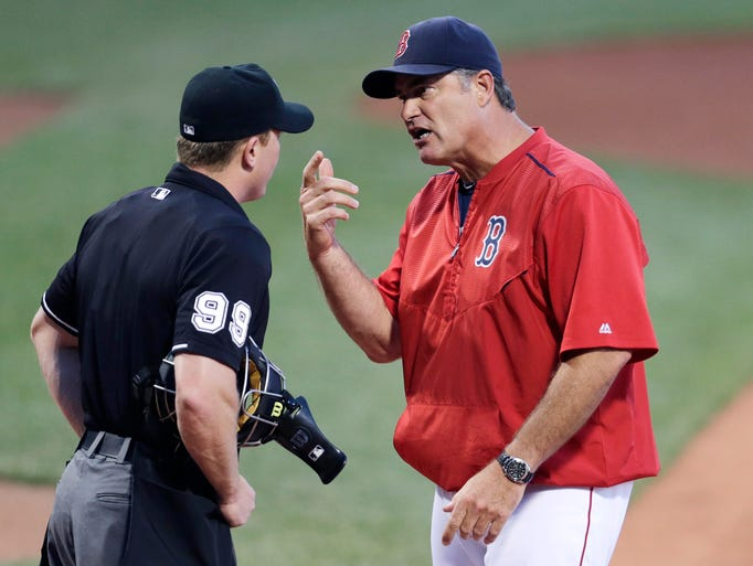 July 27: Red Sox manager John Farrell argues the ejection