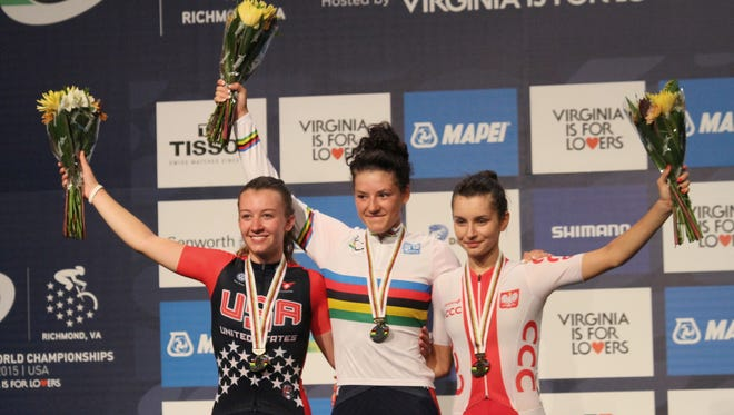 Brownsburg's Chloe Dygert, center, won the gold medal Friday in the Women's Junior Road Circuit cycling race at the UCI Road World Championships in Richmond, Va. Fellow American Emma White, left, took the silver and  Agnieszka Skalniak of Poland won the bronze.