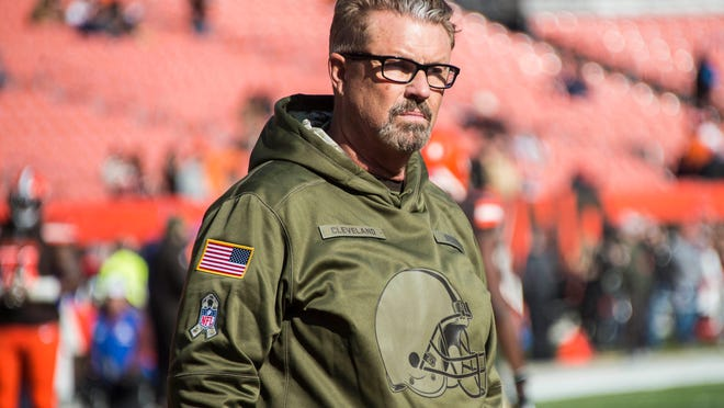 Nov 11, 2018; Cleveland, OH, USA; Cleveland Browns head coach Gregg Williams watches warm ups before the game between the Cleveland Browns and the Atlanta Falcons at FirstEnergy Stadium. Mandatory Credit: Ken Blaze-USA TODAY Sports