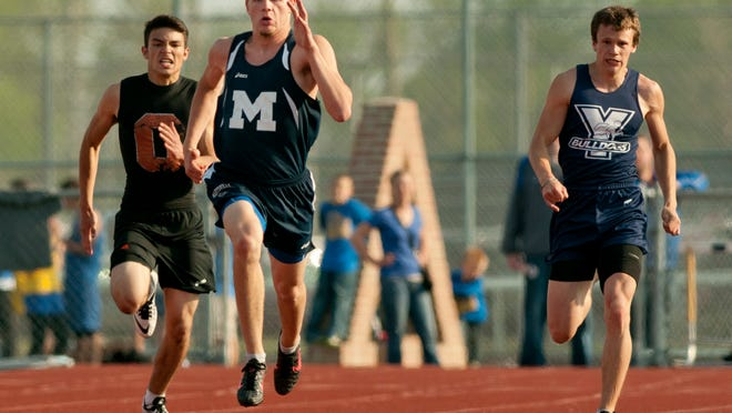 Marysville junior Seth Zeller competes in the 200-meter dash during a Division 2 track regional meet Friday, May 15, 2015 at Algonac High School.