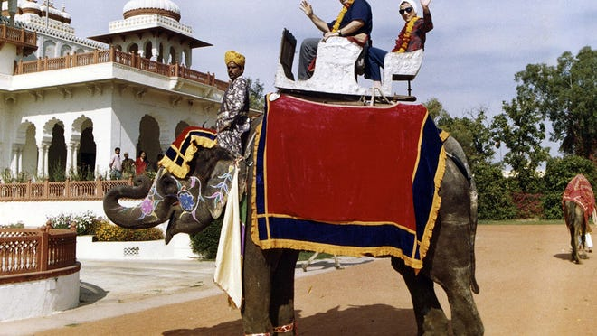 Supreme Court Justice Ruth Bader Ginsburg, right, and Supreme Court Justice Antonin Scalia ride an elephant in Rajasthan, India, in 1994. The two were friends despite their nearly par-opposite positions on the law.