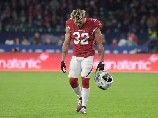 Cardinals defensive back Tyrann Mathieu reacts during Arizona's loss to the Rams in London on October.