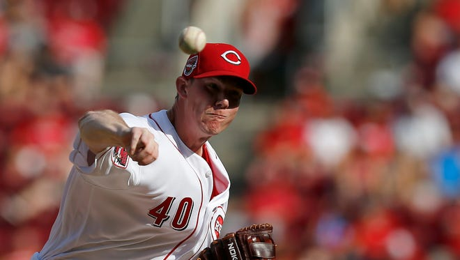 Cincinnati Reds relief pitcher Austin Brice (40) delivers a pitch in the top of the fifth inning against the Los Angeles Dodgers at Great American Ball Park on Saturday, June 17, 2017.