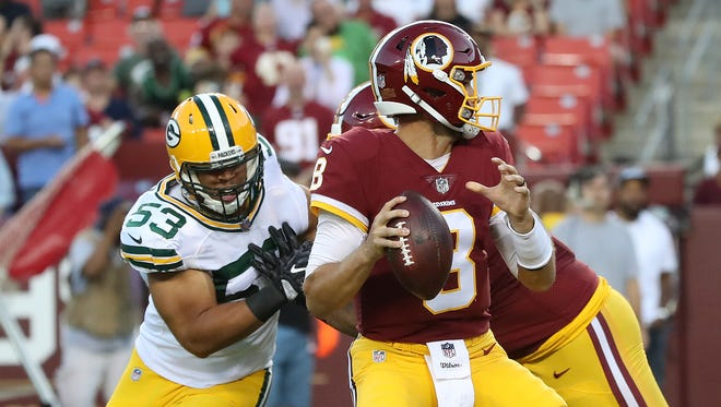 Green Bay Packers outside linebacker Nick Perry (53) pressures quarterback Kirk Cousins (8) against the Washington Redskins Saturday, August 19, 2017 at Fedex Field in Landover, MD.