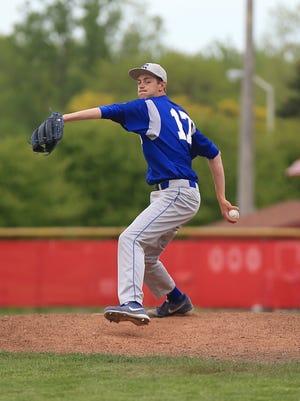 Salem pitcher Eric Scott delivers the baseball toward a Canton batter on Thursday. Scott no-hit the Chiefs.