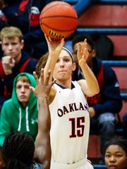 Oakland's Sloan Mann fires a jumper during Monday's win over Franklin County. Mann finished with 22 points.