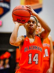 Blackman's Joelle Patton fires a shot during Thursday's 59-15 win over Lincoln County. Patton scored 10 points in the win.