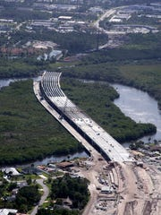 An aerial view of construction on the Crosstown Parkway