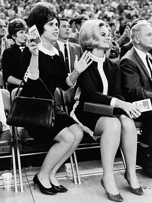 THEN: Phoenix Suns fans cheer the team courtside during the 1968-69 inaugural season at Veterans Memorial Coliseum on McDowell Road.