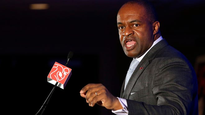 NFL Players Association executive president DeMaurice Smith speaks during press conference at the Sheraton Hotel.
