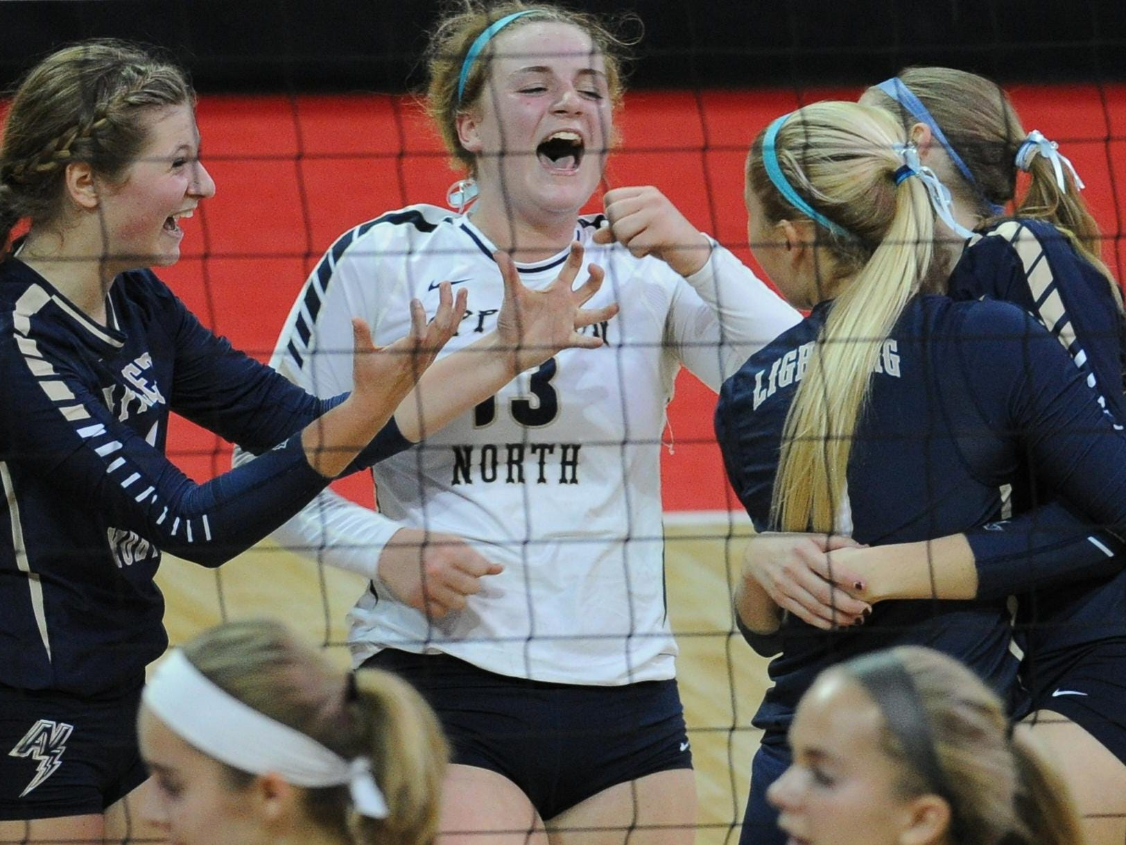 Appleton North players celebrate against Greendale during the WIAA Division 1 state tournament Thursday in Ashwaubenon.